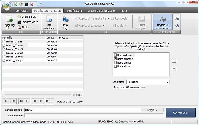 AVS Audio Converter - Rinominazione file