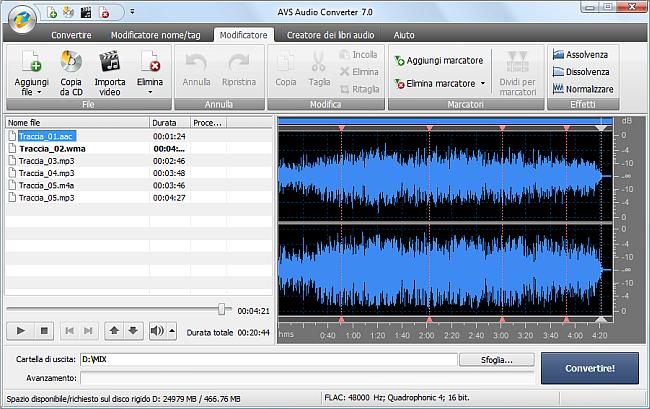 AVS Audio Converter - Divisione file audio