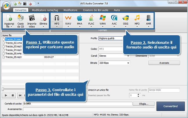 Uso di AVS Audio Converter - Passi 1,2,3