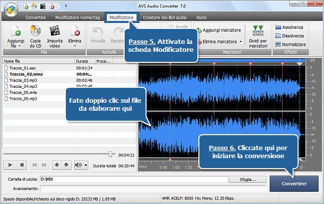 Uso di AVS Audio Converter - Passi 5,6