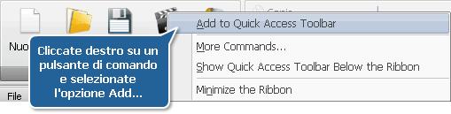 Aggiunta del pulsante di comando alla barra degli strumenti d'accesso rapido