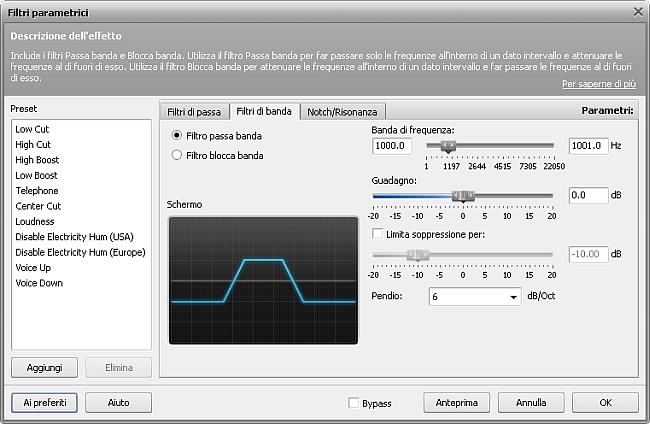 Impostazioni del filtro Passa banda