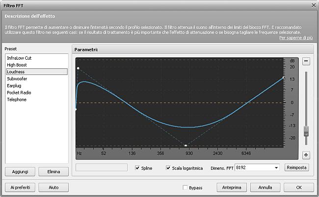 Parametri del filtro FFT