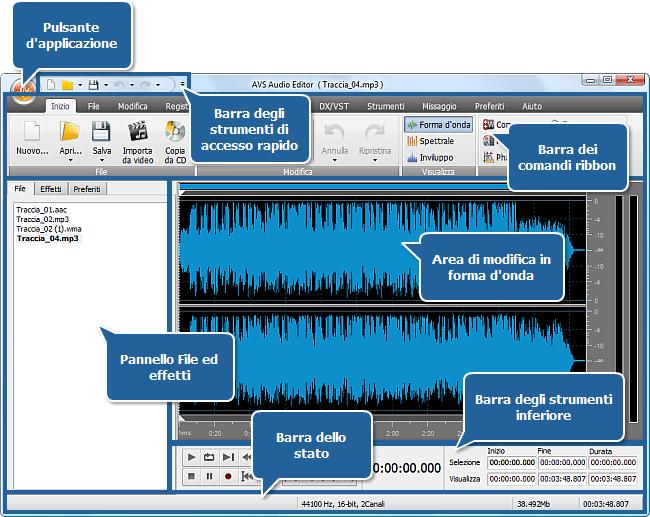 AVS Audio Editor - Finestra principale