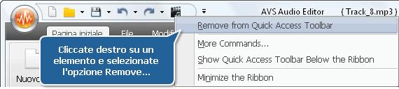 Eliminazione di un elemento dalla barra degli strumenti d'accesso rapido