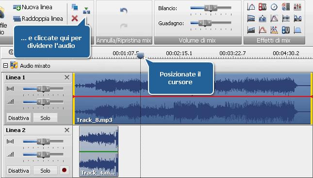 Divisione della traccia audio