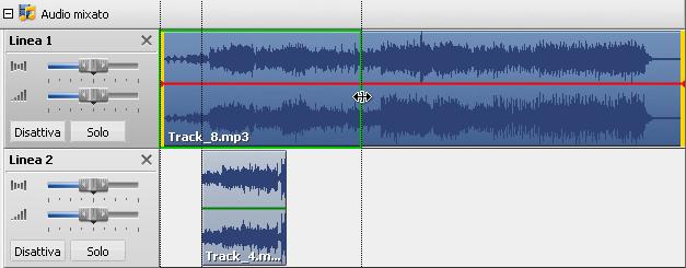 Taglio della traccia audio