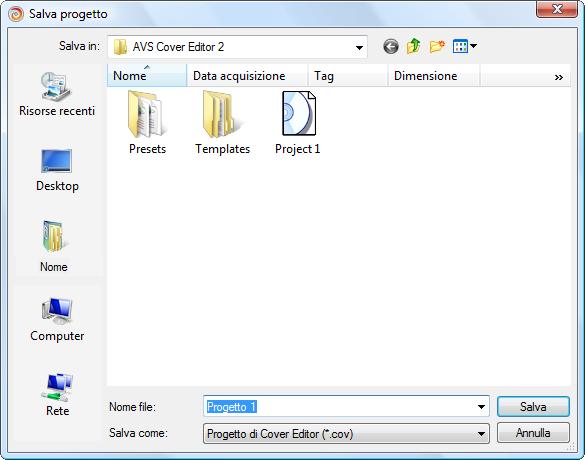Salva il progetto di AVS Cover Editor