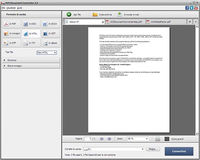 Conversione nel formato HTML