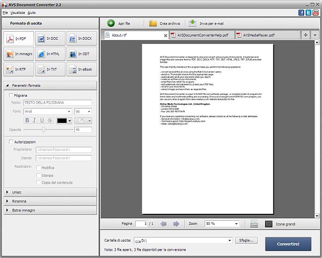 Conversione nel formato PDF