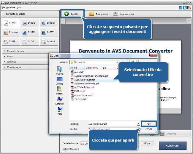 Uso di AVS Document Converter: Passo 1