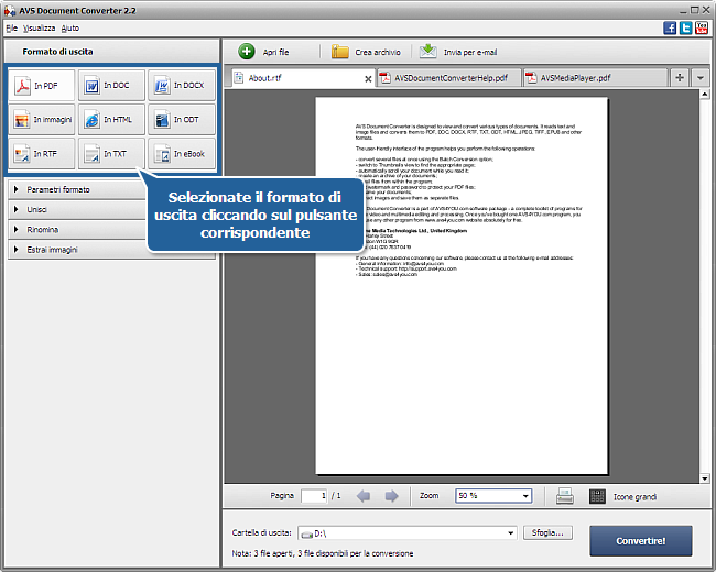 Uso di AVS Document Converter: Passo 2