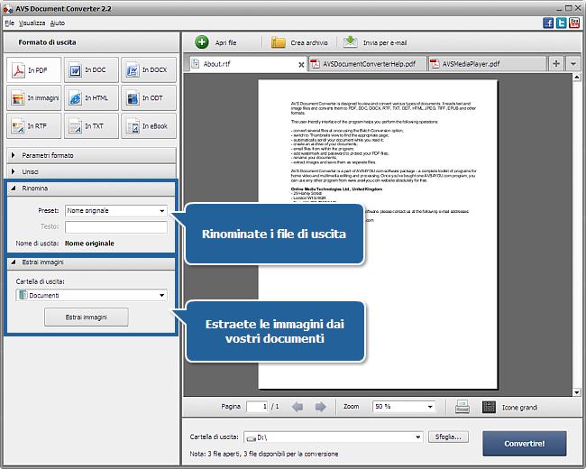 Uso di AVS Document Converter: Passo 4