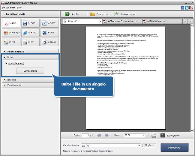 Uso di AVS Document Converter: Passo 3