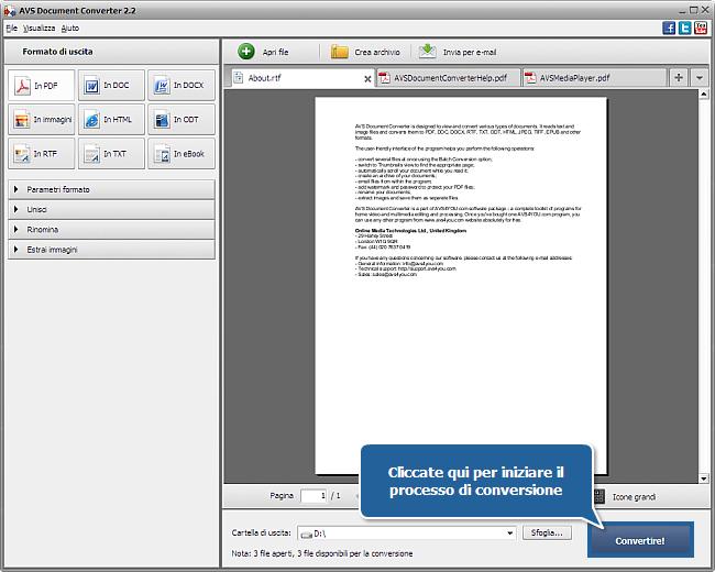 Uso di AVS Document Converter: Passo 5