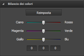 Sezione Bilancio dei colori