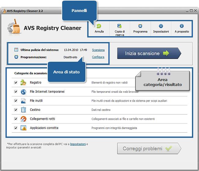 Finestra principale di AVS Registry Cleaner