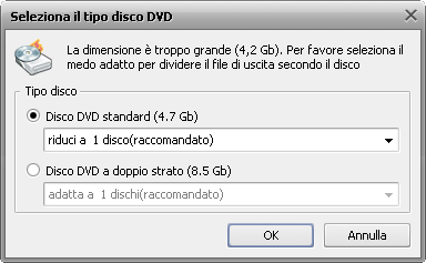 Seleziona il tipo disco DVD