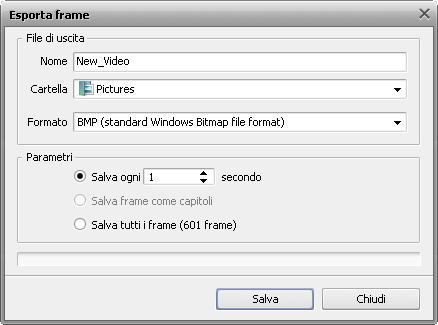 Finestra Esporta frame