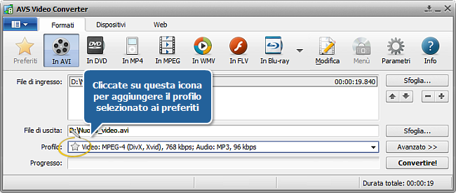 AVS Video Converter - Finestra principale