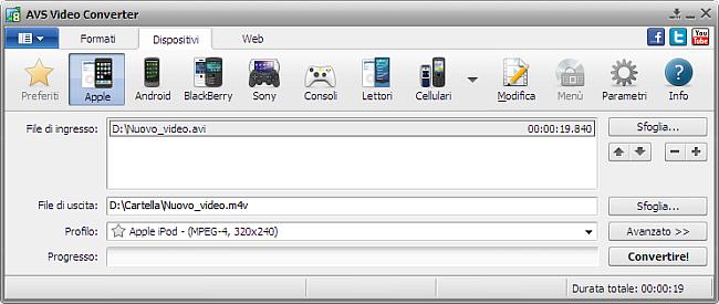 Finestra principale di AVS Video Converter - per Apple