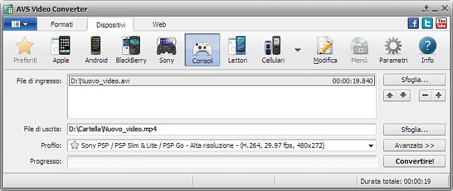 Finestra principale di AVS Video Converter - per console