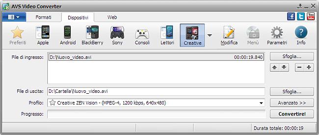 Finestra principale di AVS Video Converter - per Creative