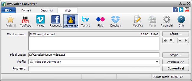 Finestra principale di AVS Video Converter - Dailymotion