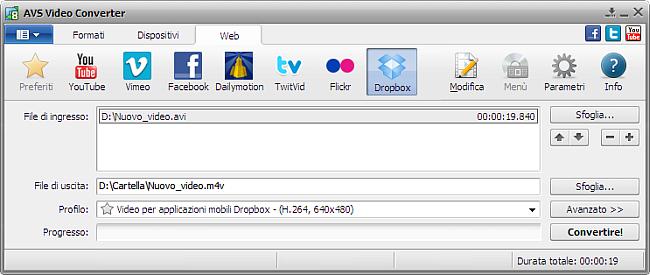 Finestra principale di AVS Video Converter - Dropbox