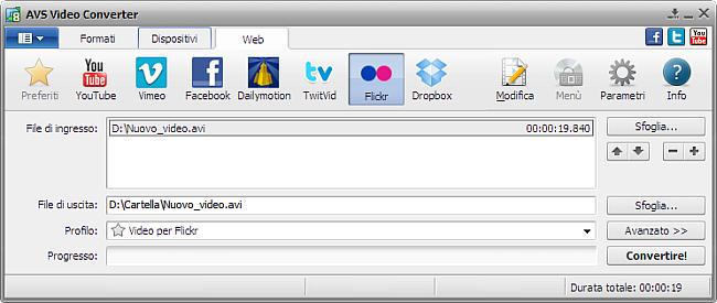 Finestra principale di AVS Video Converter - Flickr