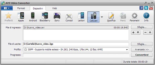 Finestra principale di AVS Video Converter - per cellulari