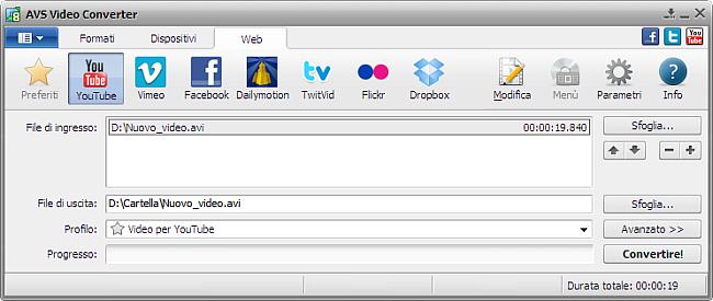 Finestra principale di AVS Video Converter - YouTube