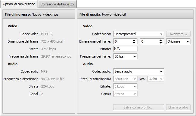 Scheda Opzioni di conversione - GIF