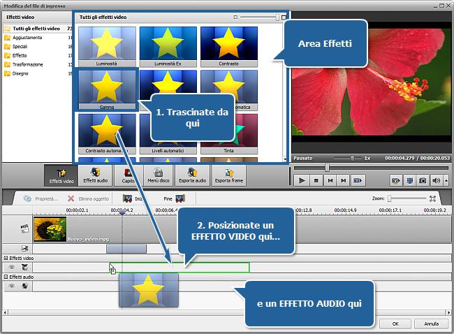 Applicazione degli effetti audio/video