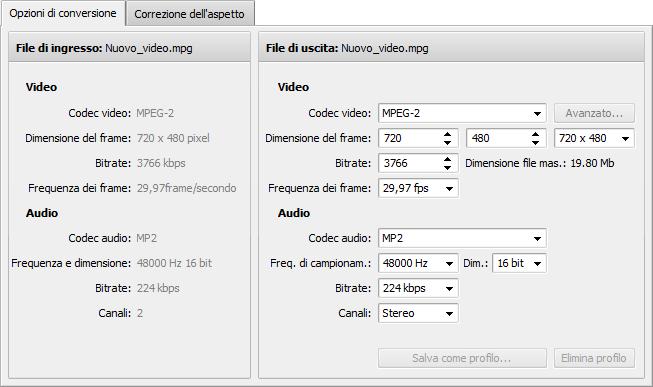 Scheda Opzioni di conversione - MPEG