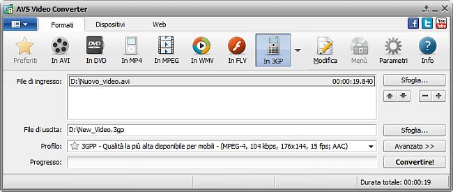Finestra principale di AVS Video Converter - in 3GP