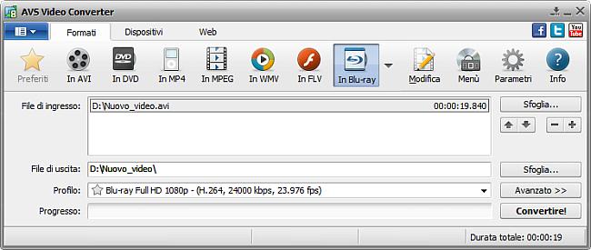 Finestra principale di AVS Video Converter - in Blu-ray
