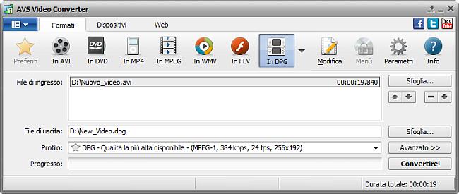 Finestra principale di AVS Video Converter - in DPG