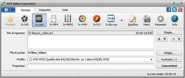 Finestra principale di AVS Video Converter - in DVD