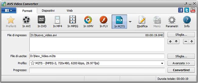 Finestra principale di AVS Video Converter - in M2TS