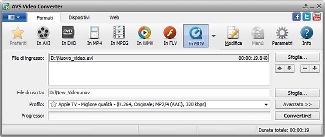 Finestra principale di AVS Video Converter - in MOV