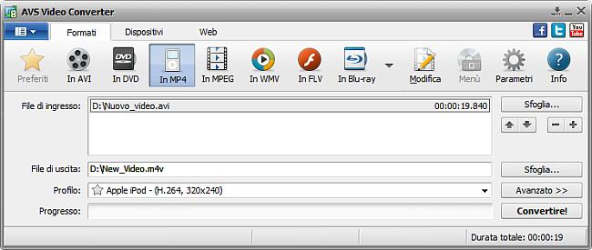 Finestra principale di AVS Video Converter - in MP4