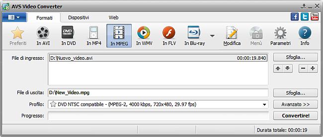 Finestra principale di AVS Video Converter - in MPEG