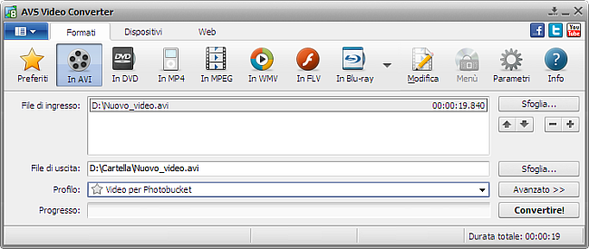 Finestra principale di AVS Video Converter - AVI