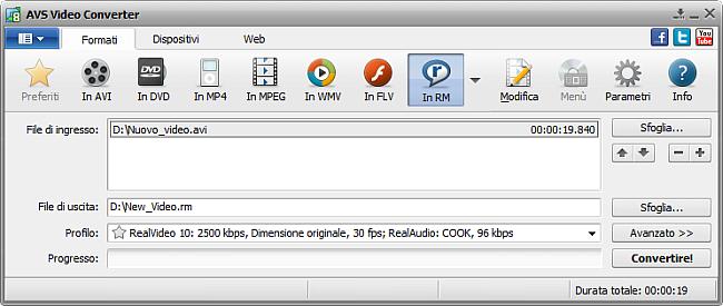Finestra principale di AVS Video Converter - in RM