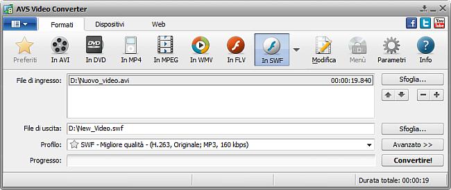 Finestra principale di AVS Video Converter - in SWF
