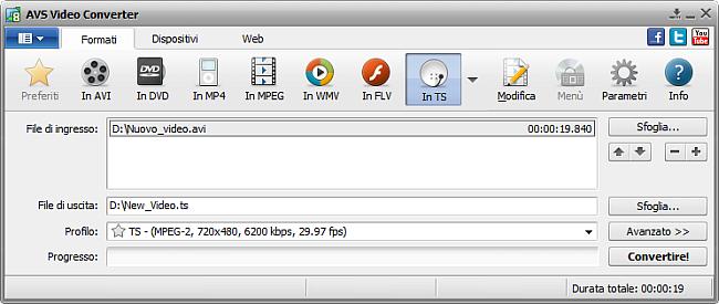 Finestra principale di AVS Video Converter - in  TS