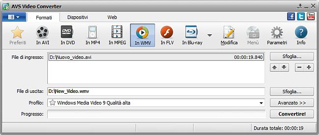 Finestra principale di AVS Video Converter - in WMV