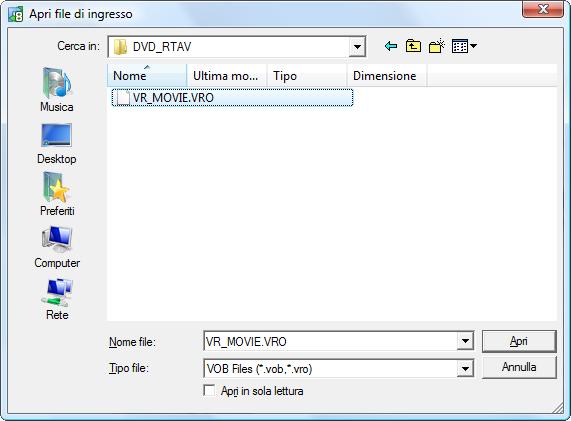 Selezione dei file video VRO