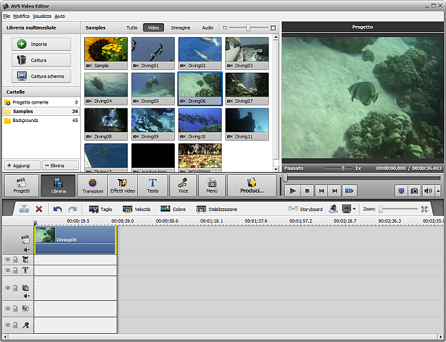 Posizionamento dei file multimediali nella Timeline